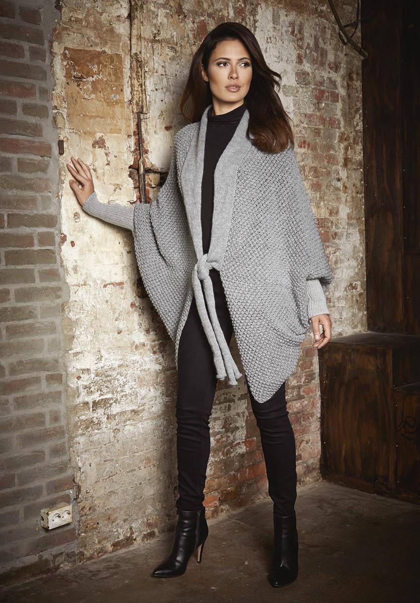 Lana Grossa НАКИДКА С КАРАКУЛЕВЫМ УЗОРОМ Cool Wool Alpaca