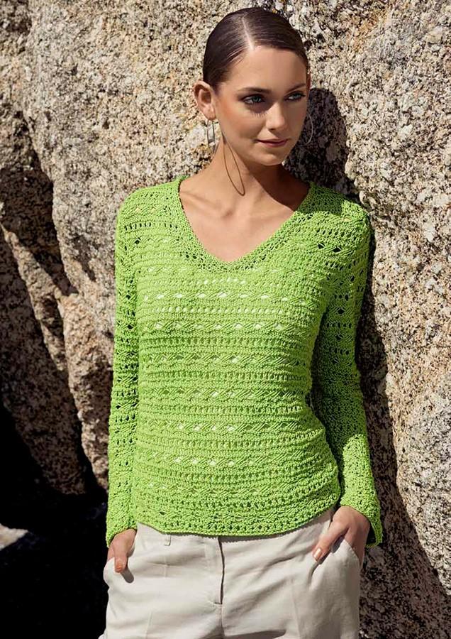 Lana Grossa Пуловер с V-образным вырезом, выполненный структурным ажурным узором Classico