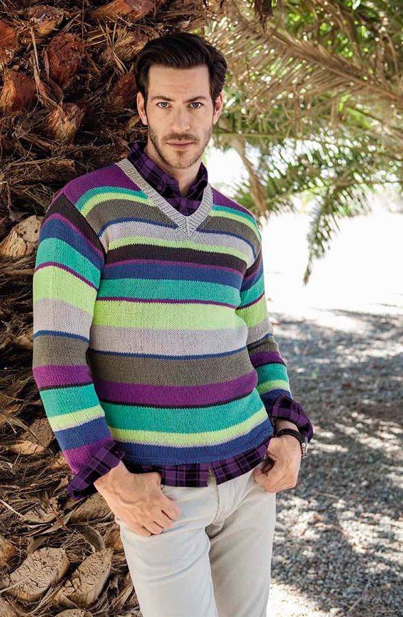 Lana Grossa Полосатый пуловер с V-образным вырезом Elastico
