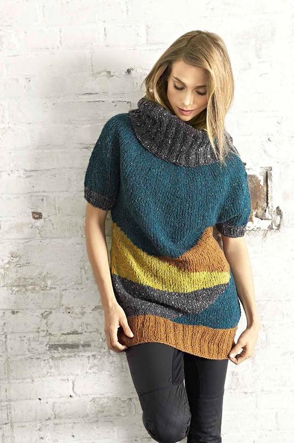 Lana Grossa Длинный пуловер с цветными участками Royal Tweed