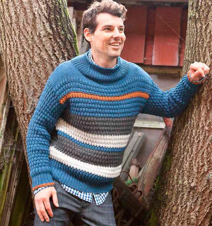 Lana Grossa Мужской пуловер, выполненный смещенным полупатентным узором Bingo