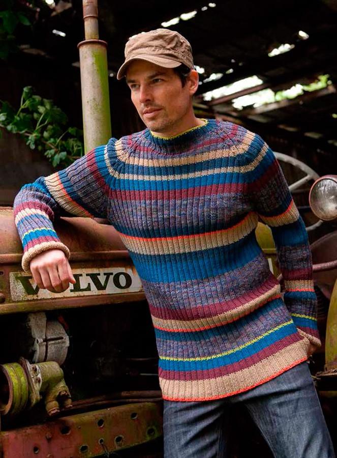 Lana Grossa Мужской пуловер с рукавом реглан Cool Wool uni/print