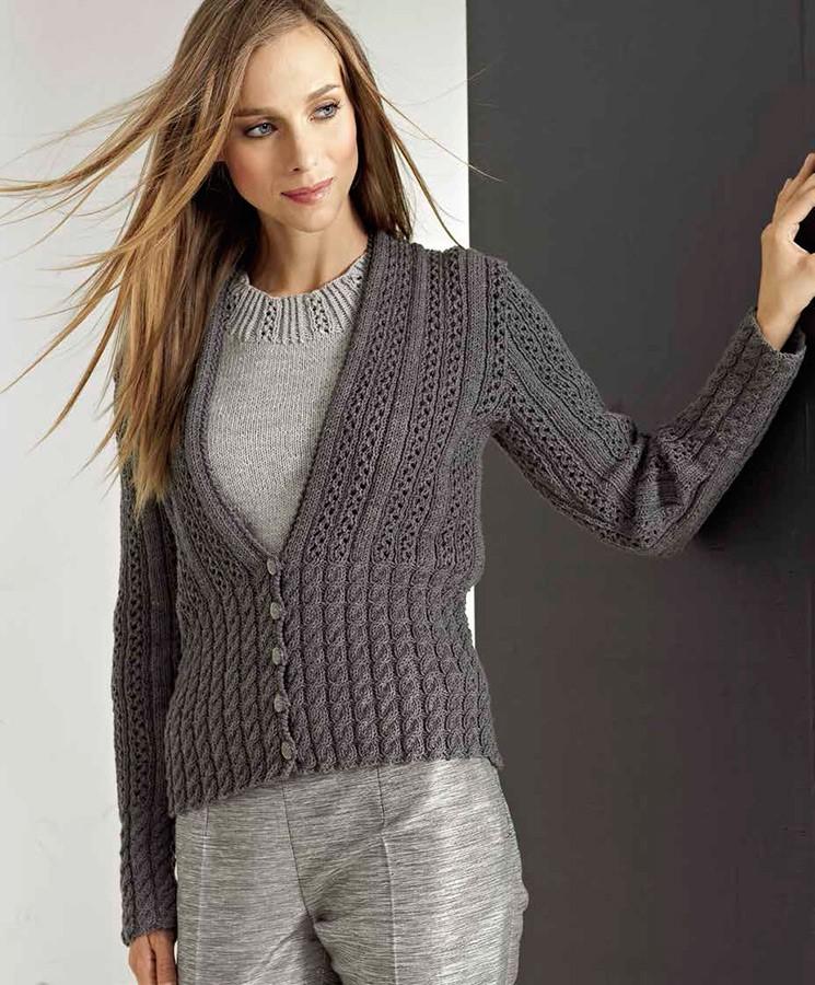 Lana Grossa Пу ловер, выполненный ажу рным узором с резинкой Cool Wool