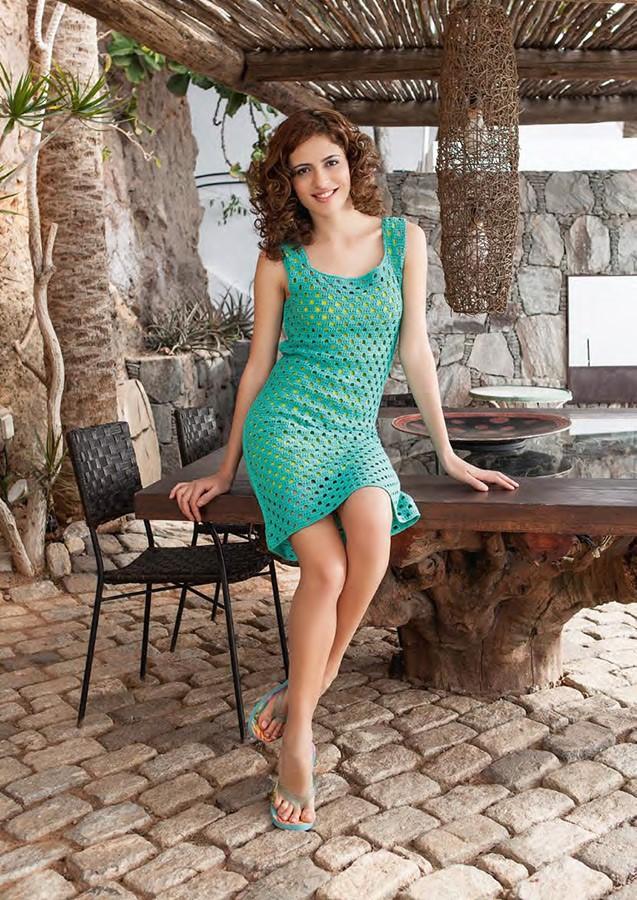Lana Grossa Платье, связанное крючком ажурным узором Elastico