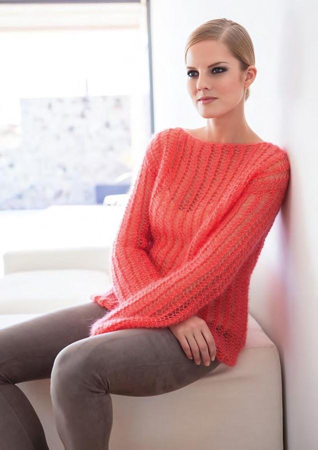 Lana Grossa Пуловер с сетчатым узором Silkhair