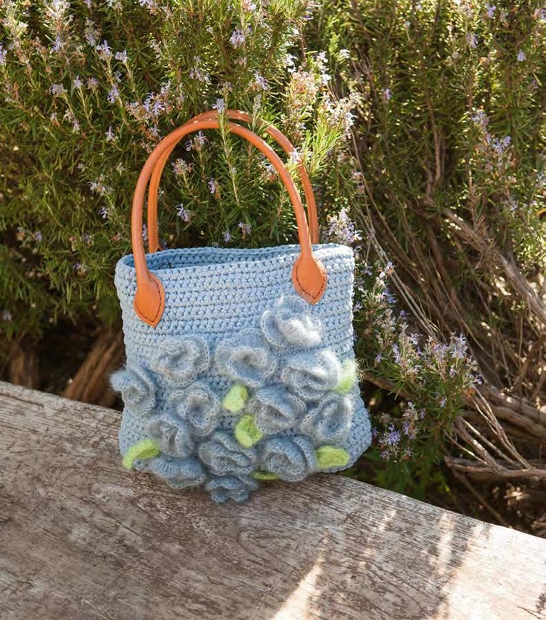 Lana Grossa Связанная крючком сумка с цветами Paradiso/Silkhair