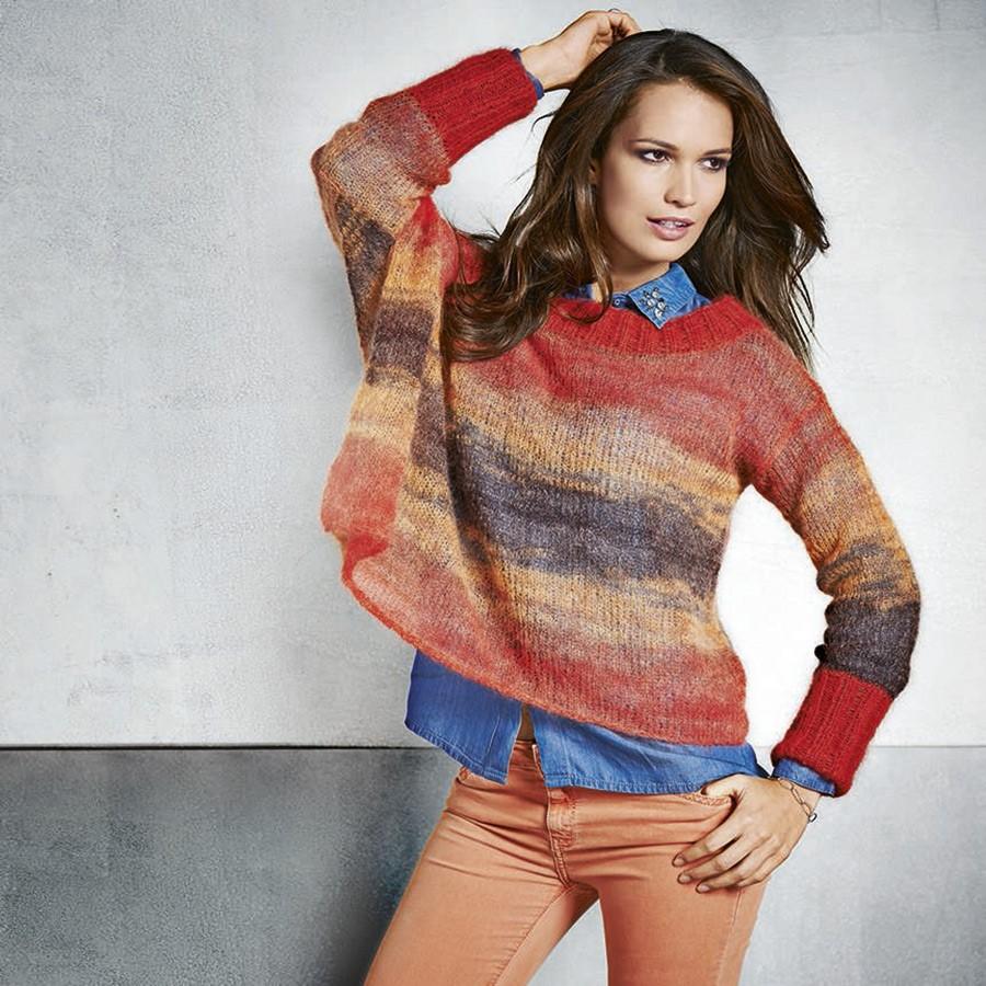 Lana Grossa Ассиметричный пуловер с вырезом-лодочкой Silkhair print/uni