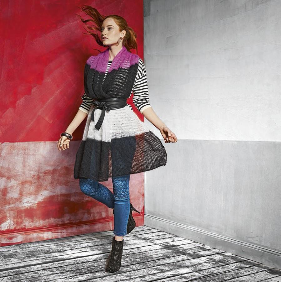 Lana Grossa Палантин с широкими полосами Silkhair