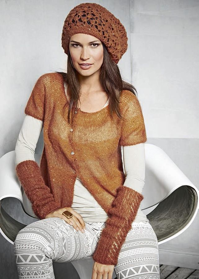 Lana Grossa Митенки с ажурными полосами Silkhair