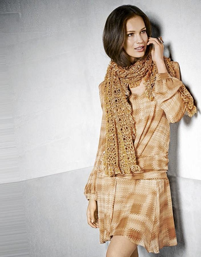 Lana Grossa Широкий шарф с узором из шишечек Lace Lux