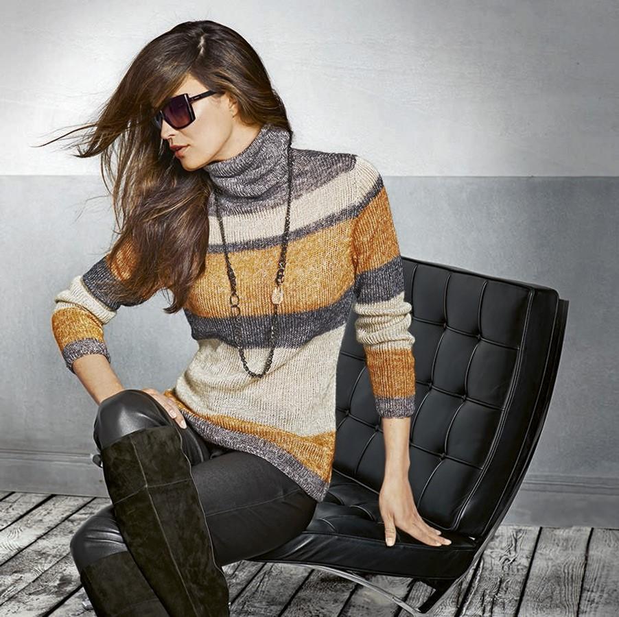 Lana Grossa Полосатый пуловер Lace Lux