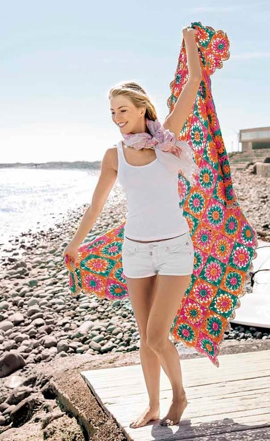 Lana Grossa Пляжный плед Organico uni/print