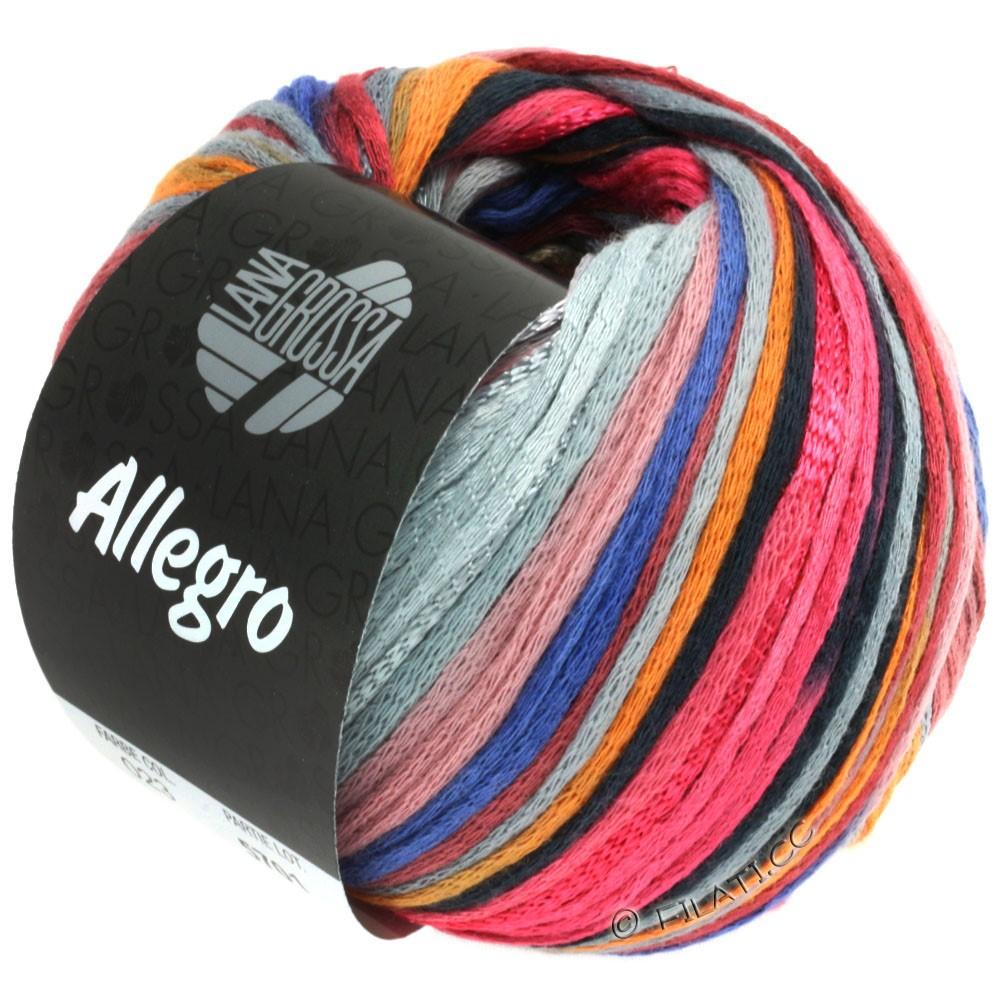 Lana Grossa ALLEGRO | 023-малиновый/оранжевый/серебристо-серый/синяя сталь