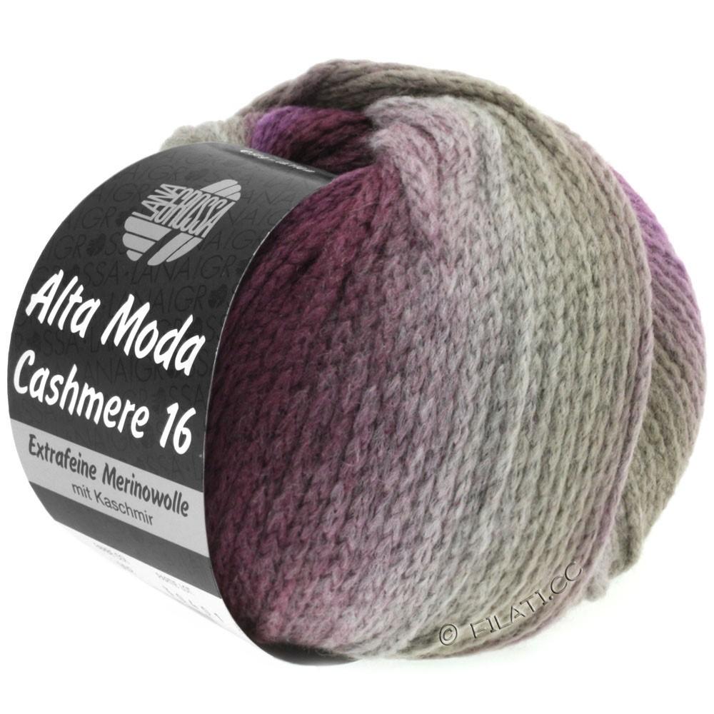 Lana Grossa ALTA MODA CASHMERE 16 Uni/Degradé | 102-серо-коричневый/ежевика/фиолетовый
