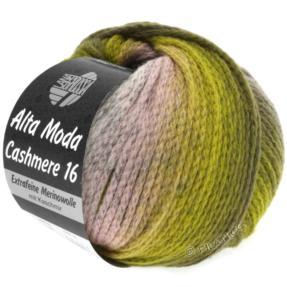 Lana Grossa ALTA MODA CASHMERE 16 Uni/Degradé | 103-розовый/светло-серый/оливковый/хаки