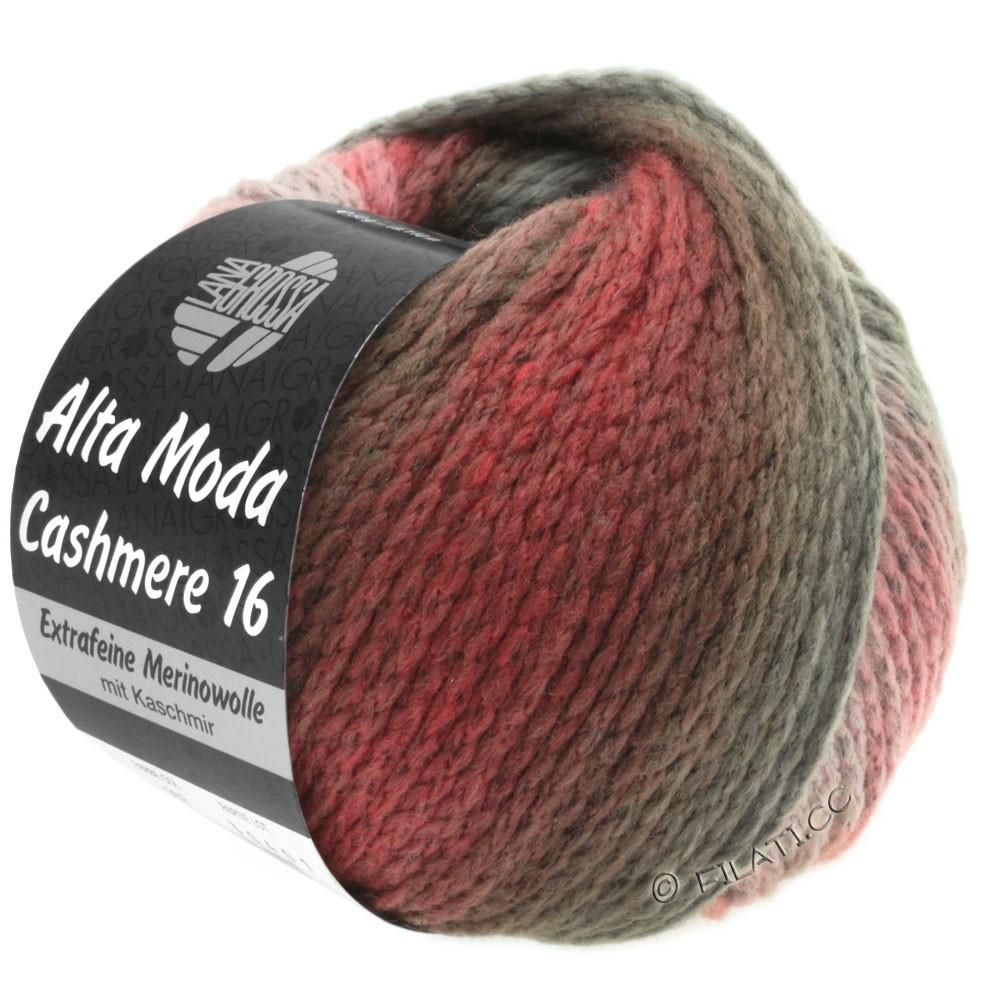 Lana Grossa ALTA MODA CASHMERE 16 Uni/Degradé | 107-розовый/красный/серо-коричневый/тёмно-коричневый