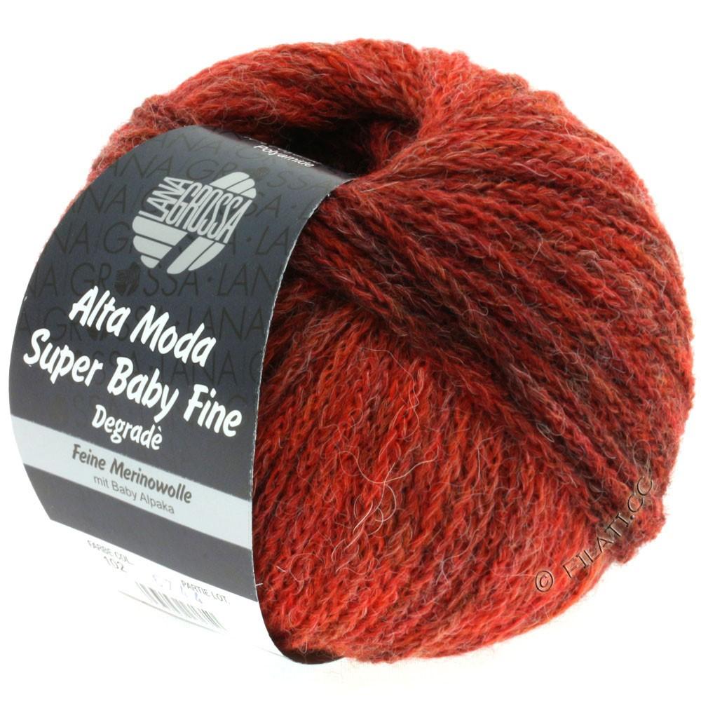 Lana Grossa ALTA MODA SUPER BABY FINE Degradè | 102-кирпично-красный/тёмно-красный/чёрно-красный