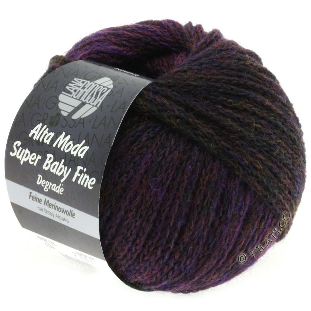 Lana Grossa ALTA MODA SUPER BABY FINE Degradè | 109-тёмно-оливковый/ежевика/баклажановый