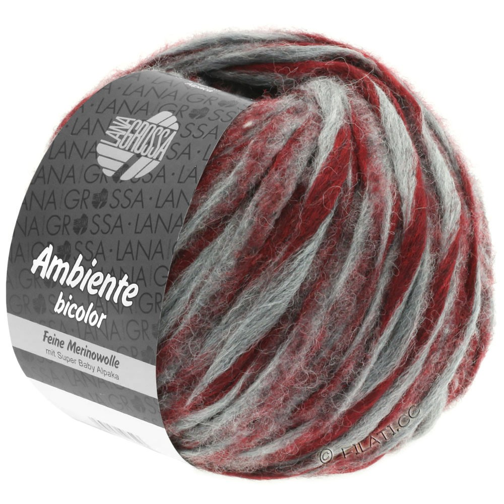 Lana Grossa AMBIENTE Bicolor | 106-серый/кирпично-красный