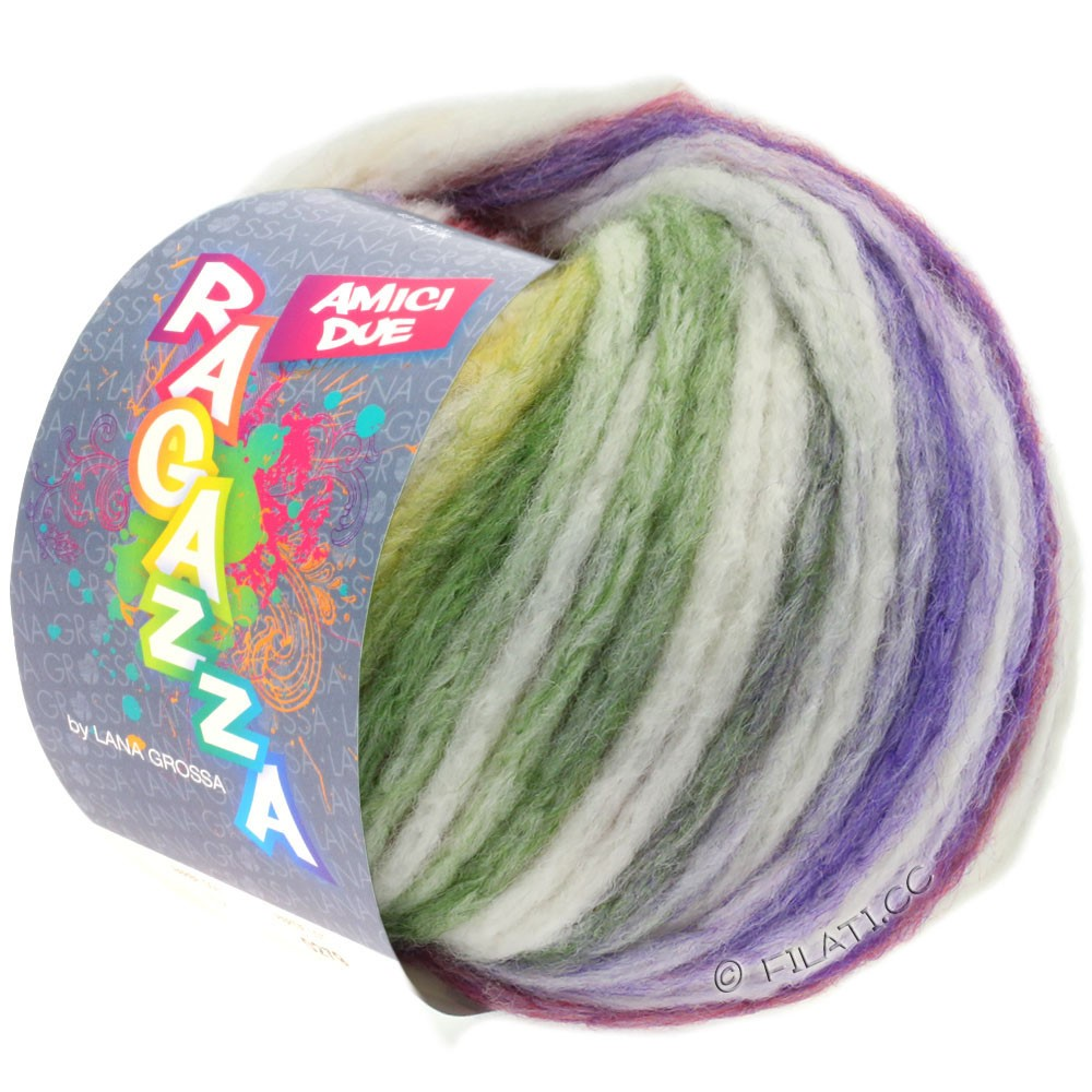 Lana Grossa AMICI DUE (Ragazza) | 113-чисто-белый/фиолетовый/ветхо-розовый/зелёный/горчичный