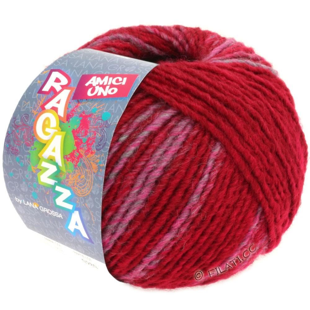Lana Grossa AMICI UNO (Ragazza) | 305-красный как вино/пинк/серый