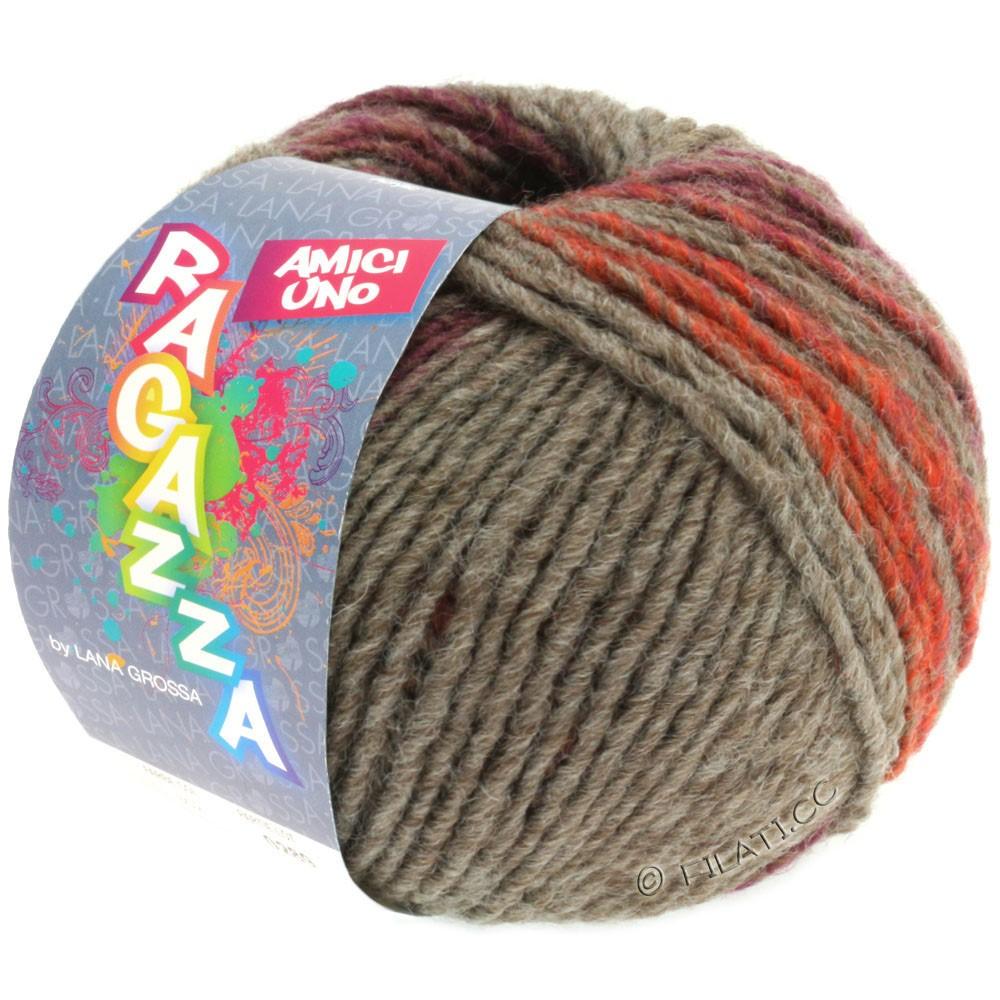 Lana Grossa AMICI UNO (Ragazza) | 307-серо-коричневый/красно-коричневый
