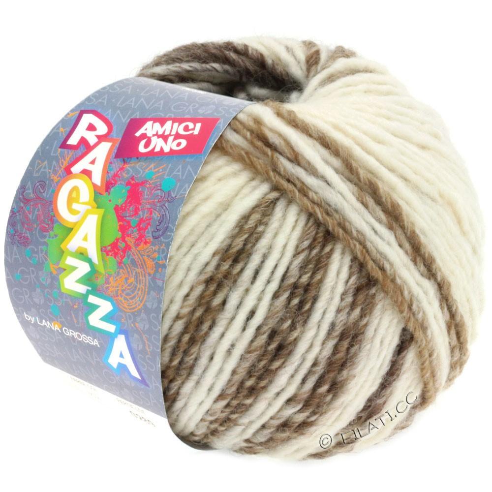 Lana Grossa AMICI UNO (Ragazza) | 308-чисто-белый/серо-коричневый/бежевый