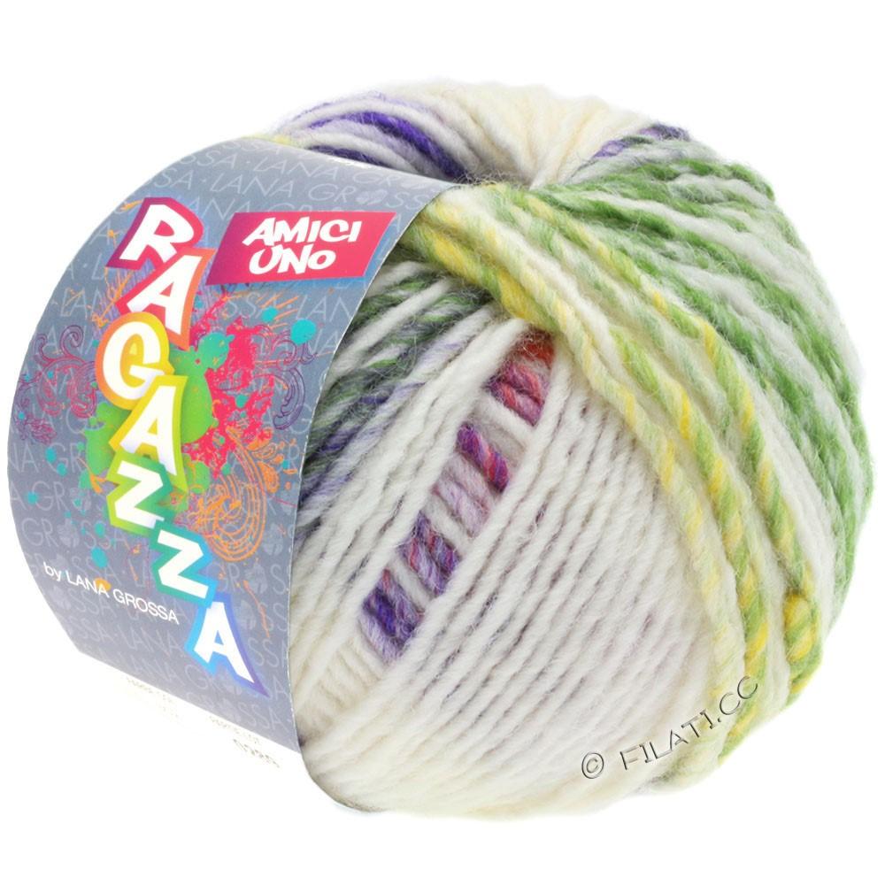 Lana Grossa AMICI UNO (Ragazza) | 313-чисто-белый/фиолетовый/ветхо-розовый/зелёный/горчичный