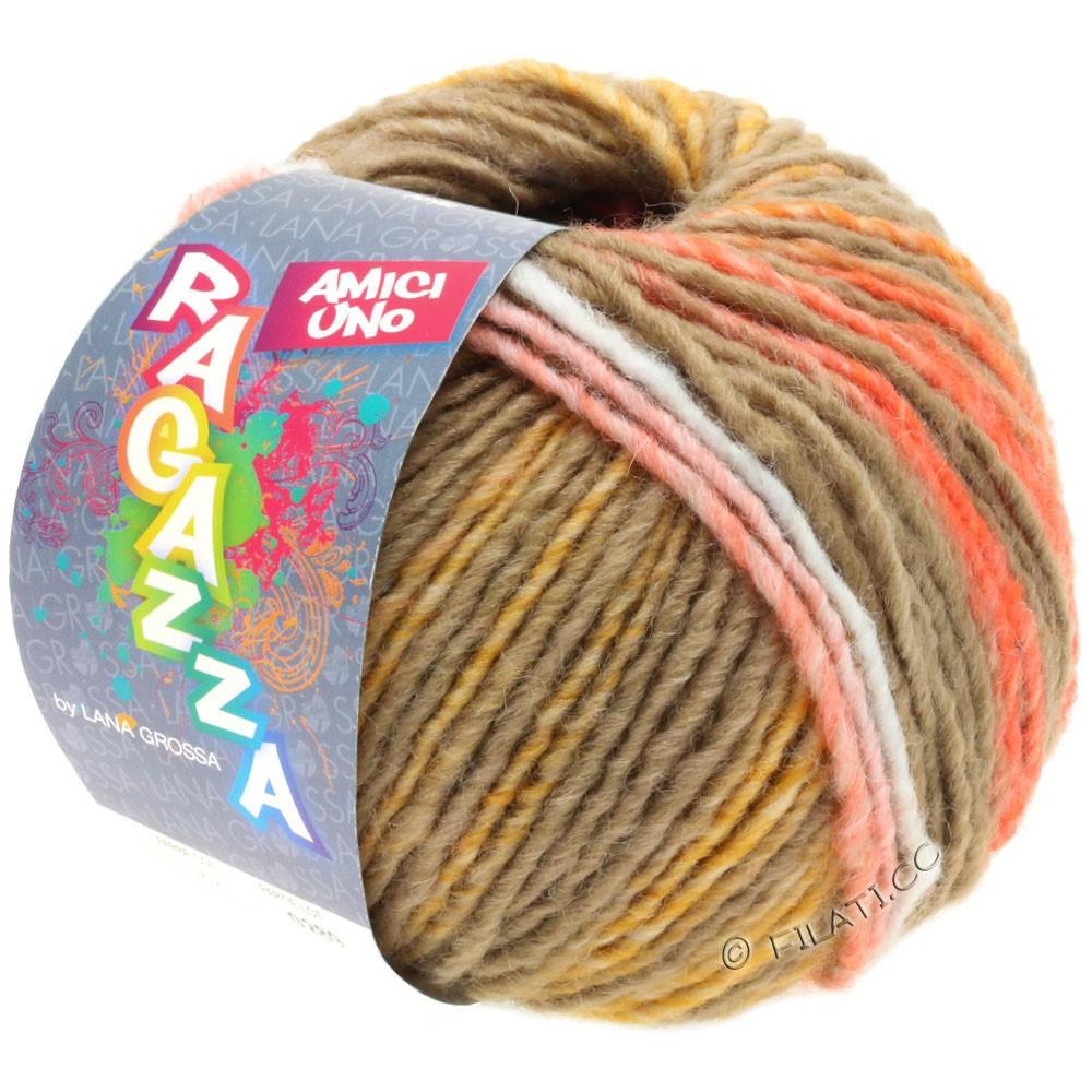 Lana Grossa AMICI UNO (Ragazza) | 315-серо-коричневый/оранжевый/малиновый/горчичный