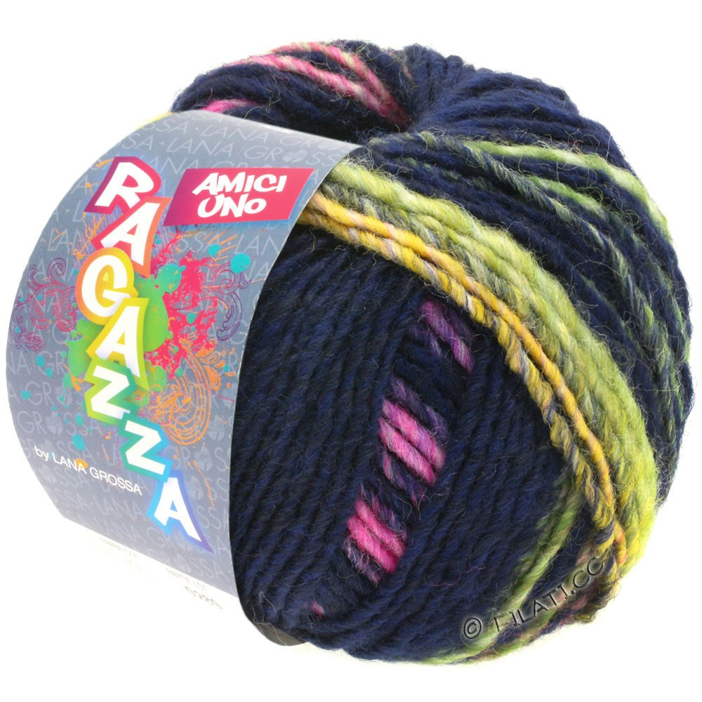 Lana Grossa AMICI UNO (Ragazza) | 316-тёмно-синий /жёлтый/пинк/пурпурный/светло-зелёный