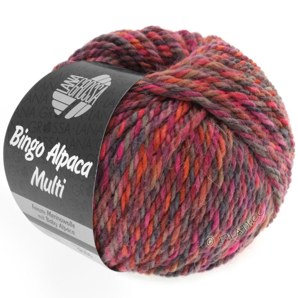 Lana Grossa BINGO ALPACA Multi | 103-малиновый/ягодный/серо-коричневый/цвет ржавчины/пинк/красная фиалка