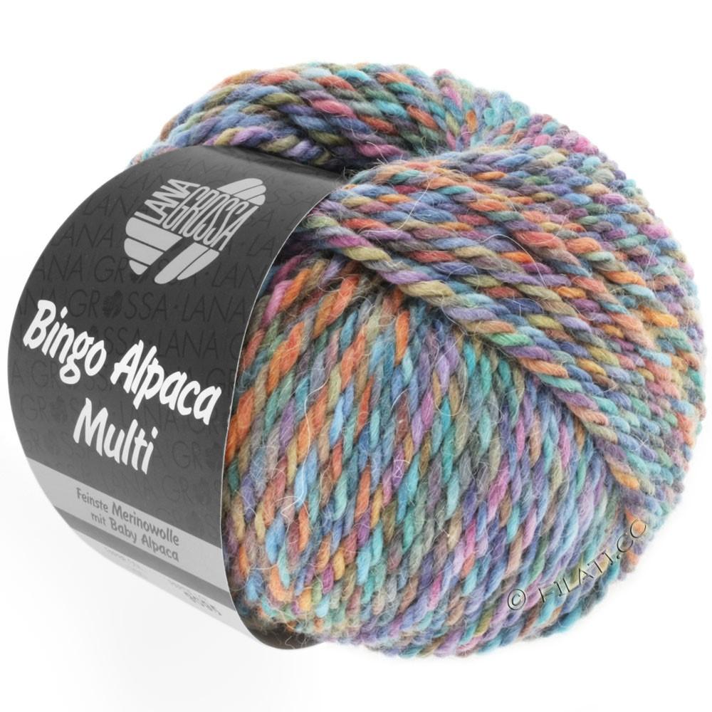 Lana Grossa BINGO ALPACA Multi | 105-бирюзовый/цвет ржавчины/сирень/фиолетовый/коричневый