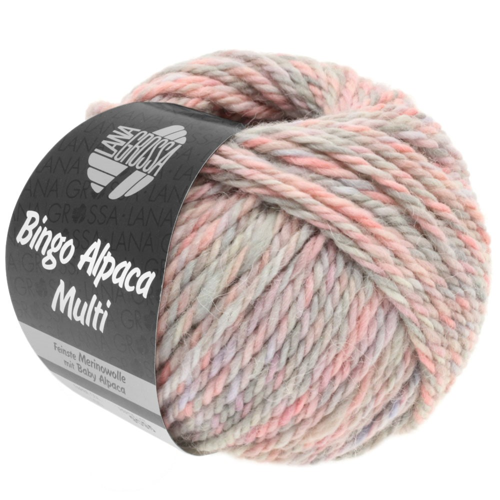 Lana Grossa BINGO ALPACA Multi | 107-пудра/розовый/серо- бежевый/светло-серый