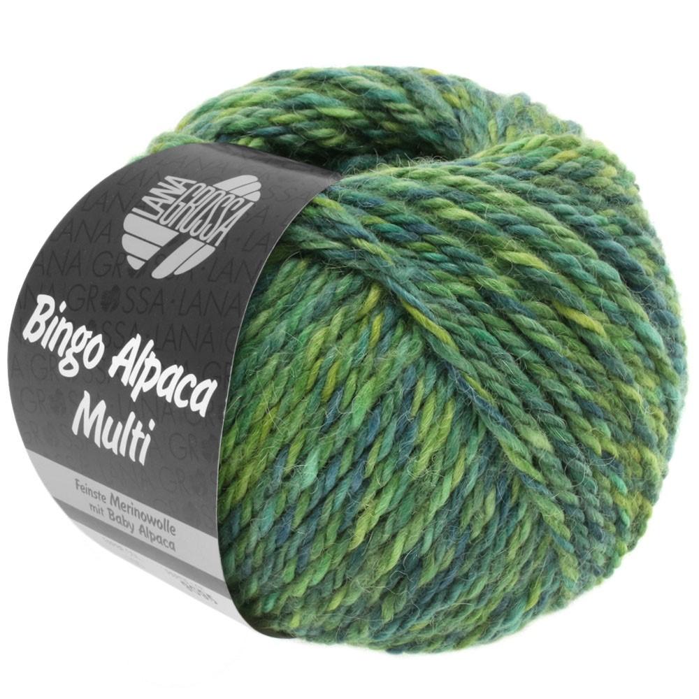 Lana Grossa BINGO ALPACA Multi | 109-жёлто-зеленый/зелёный/петроль/зеленый сено