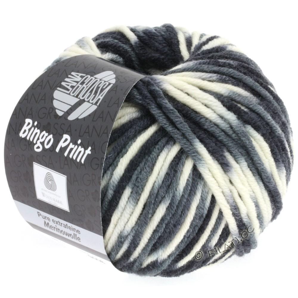 Lana Grossa BINGO Print принт | 310-белый/светло-серый/тёмно-серый/чёрный
