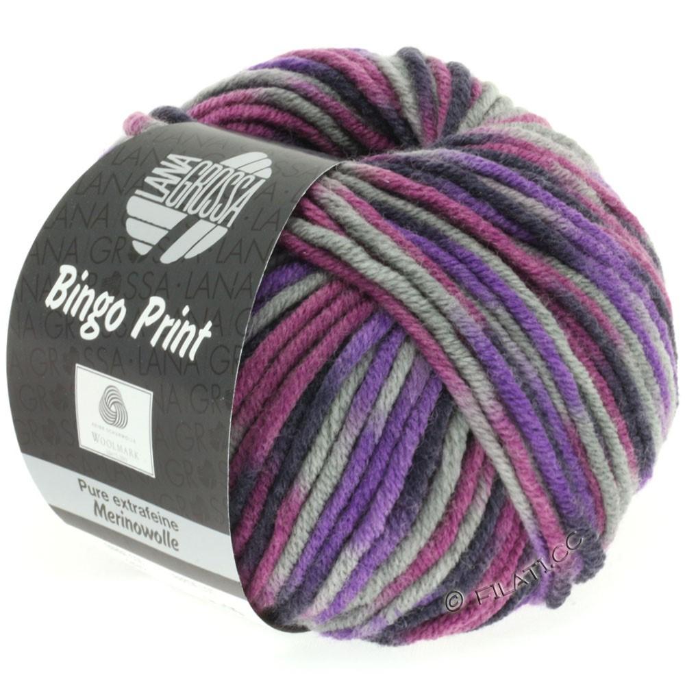 Lana Grossa BINGO Print принт | 332-фиолетовый/светло-серый/баклажановый/бузина