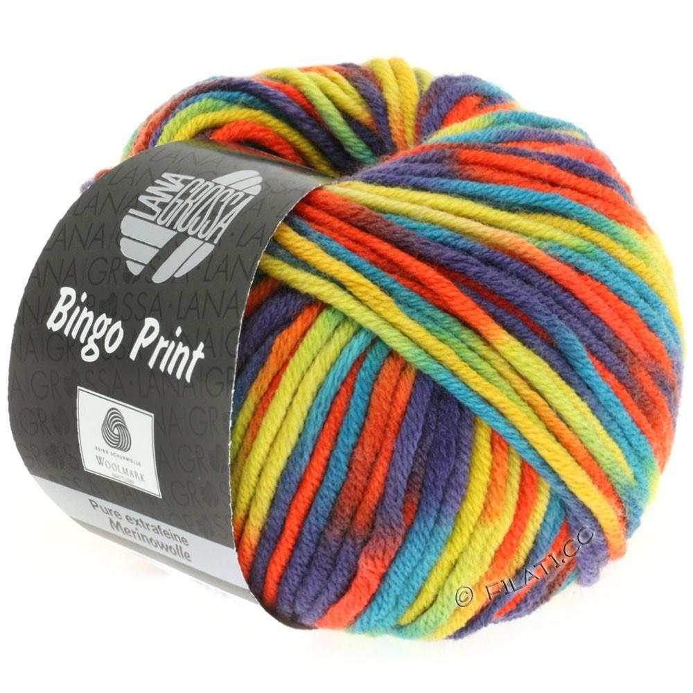Lana Grossa BINGO Print принт | 358-горчичный/петроль/баклажановый/оранжево-красный