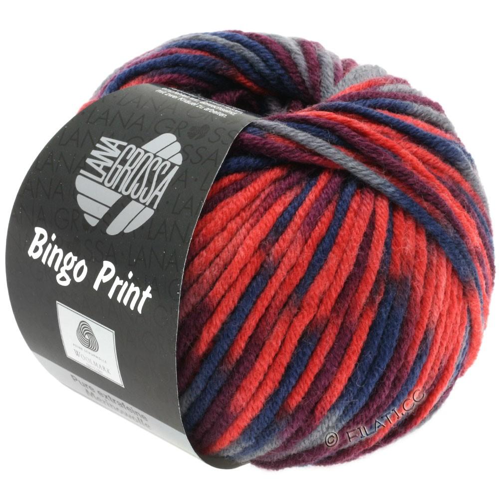 Lana Grossa BINGO  Uni/Melange/Print уни/меланж/принт | 363-светящийся красный /мандариновый/бордо/тёмно-серый