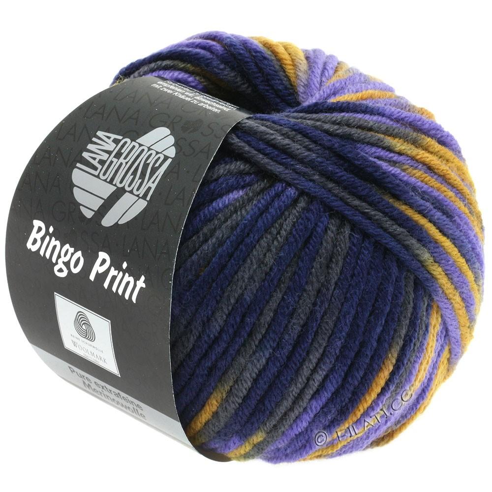Lana Grossa BINGO  Uni/Melange/Print уни/меланж/принт | 364-желтая охра/фиолетовый/тёмно-синий /антрацитовый