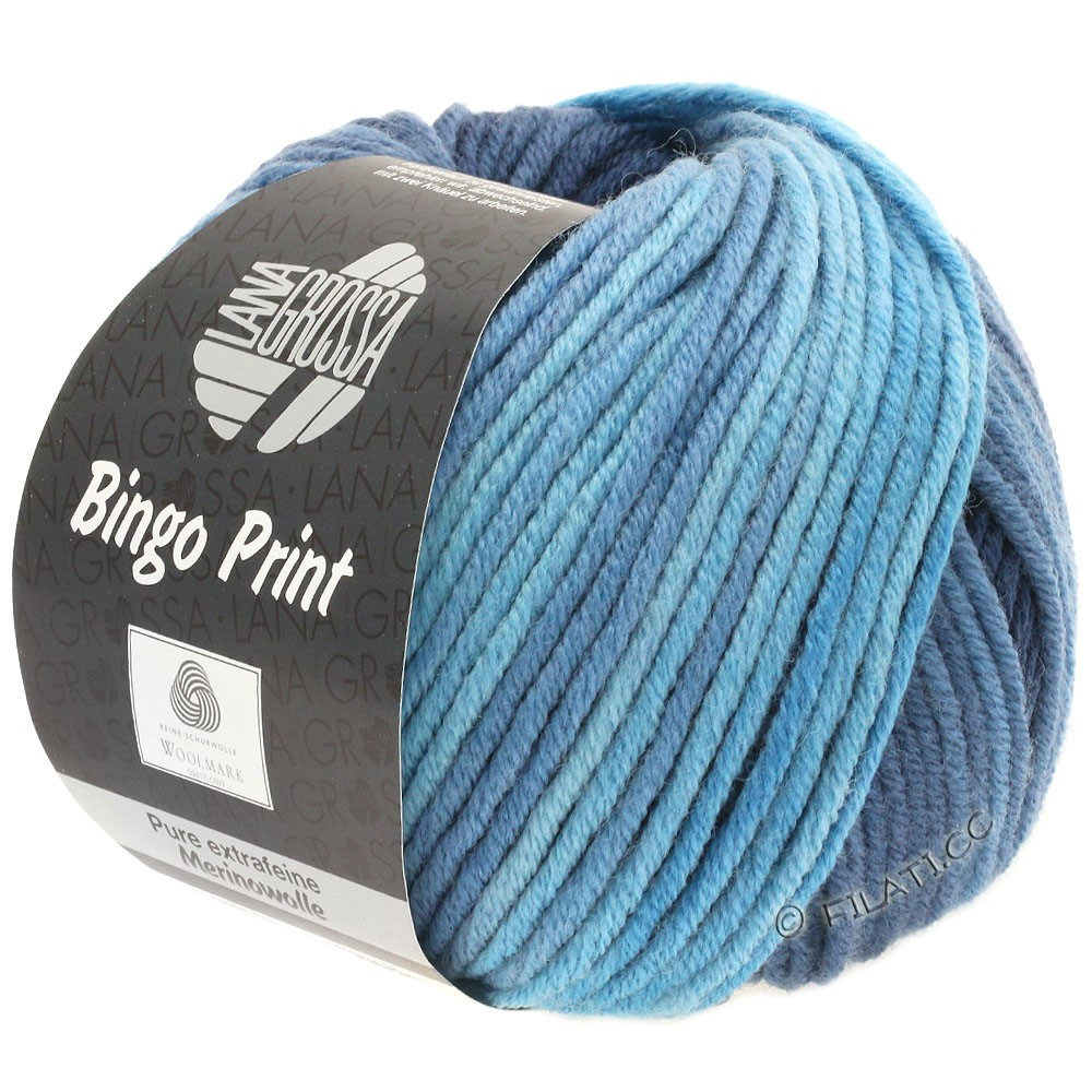 Lana Grossa BINGO  Uni/Melange/Print уни/меланж/принт | 626-светло-голубой/серо-синий/тёмно-синий