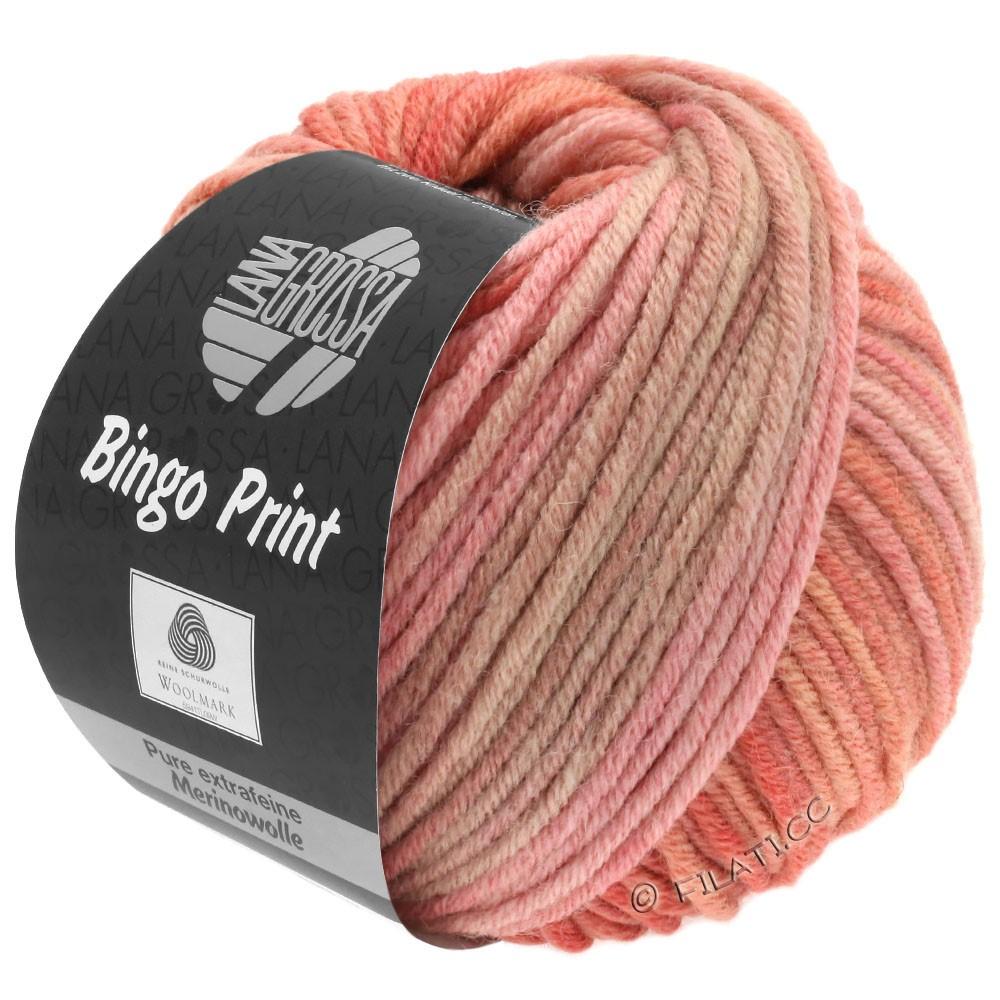 Lana Grossa BINGO  Uni/Melange/Print уни/меланж/принт | 629-лосось розовый/серо-коричневый /старо-фиолетовый
