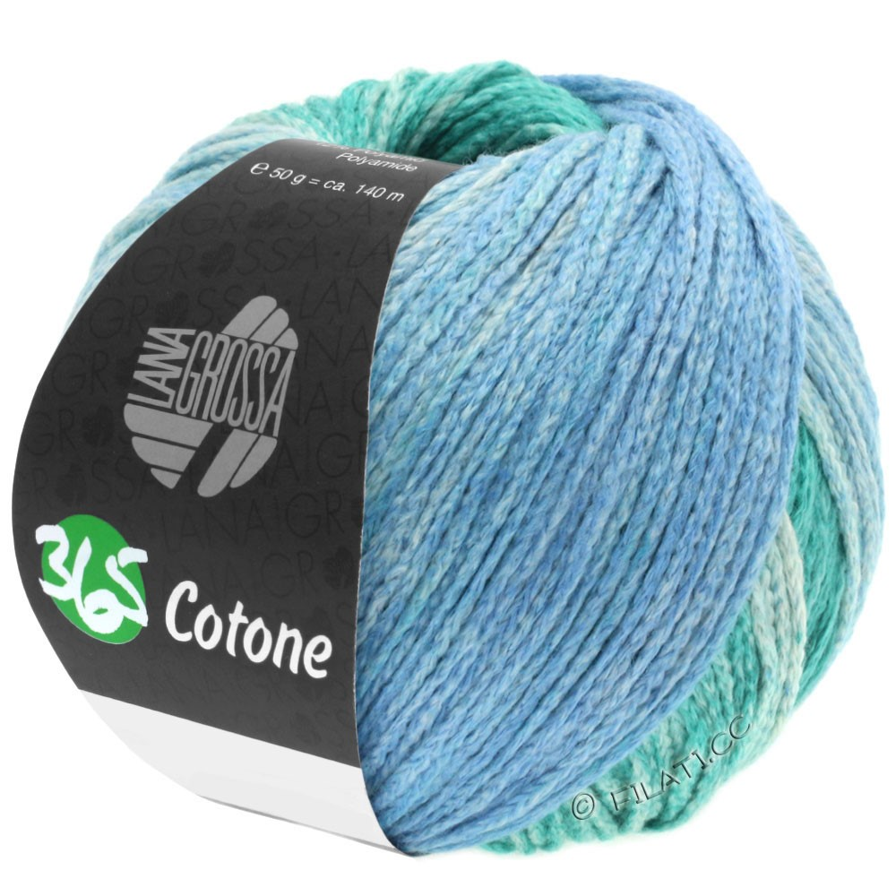 Lana Grossa 365 COTONE Degradé | 104-светло-зеленый опал/тёмно-зеленый опал/серо-голубой/петроль серый