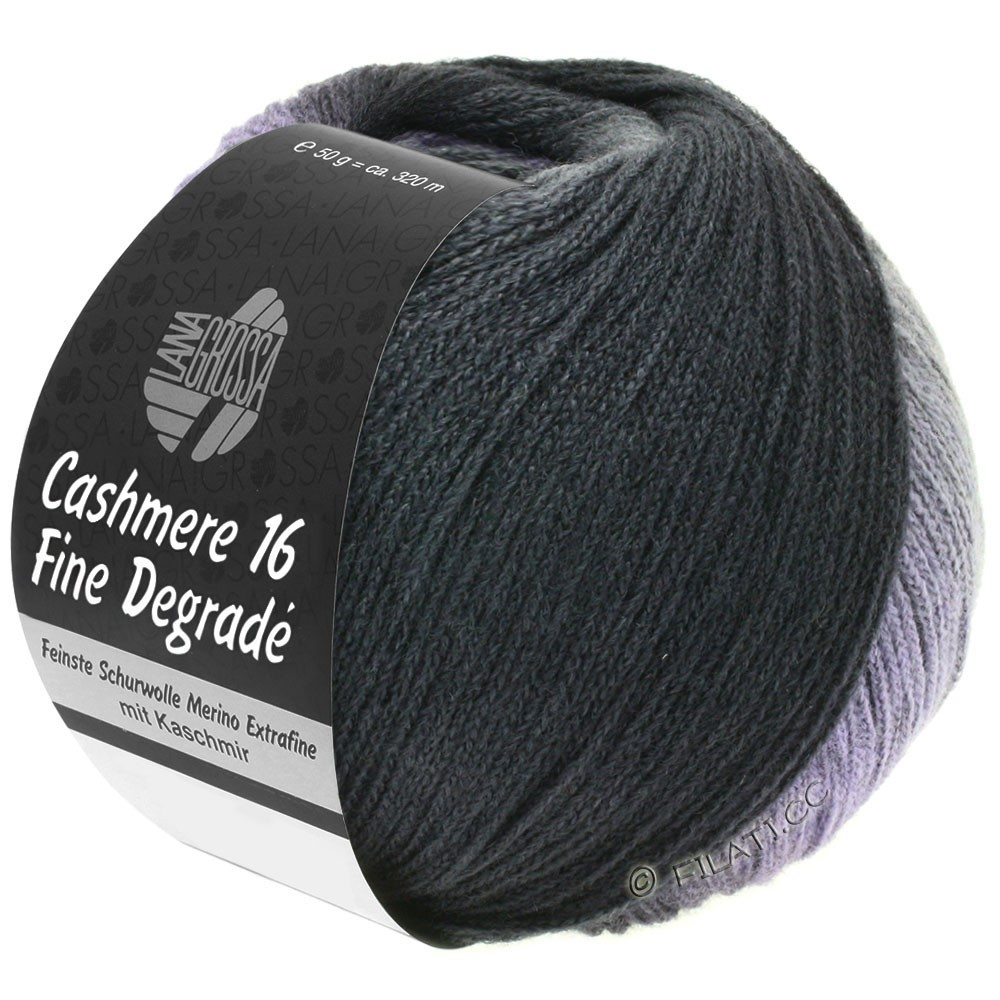Lana Grossa CASHMERE 16 FINE Uni/Degradé | 102-темно-серый/антрацит/черный