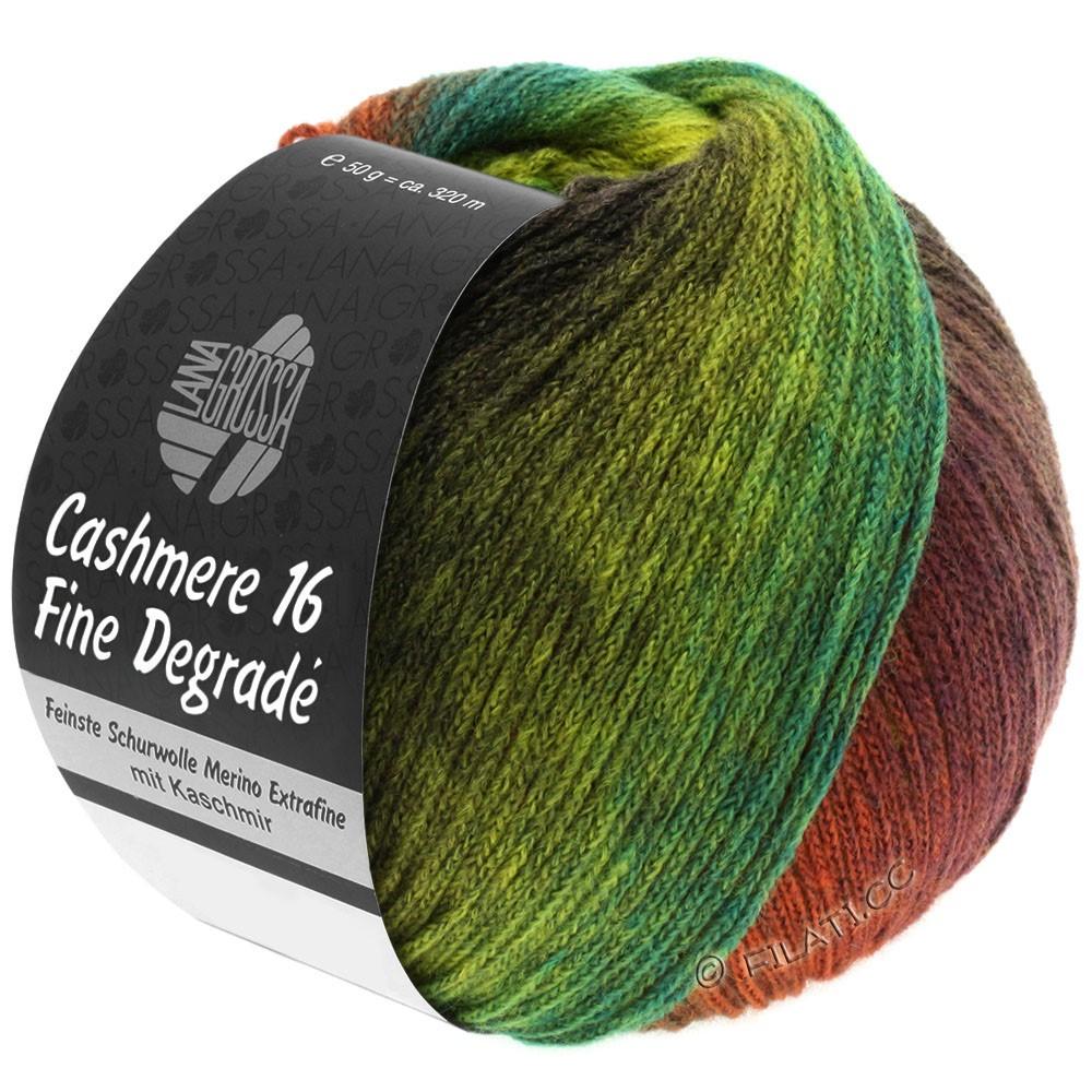 Lana Grossa CASHMERE 16 FINE Uni/Degradé | 103-красно-коричневый/хаки/жёлто-зеленый/зеленый/ежевика