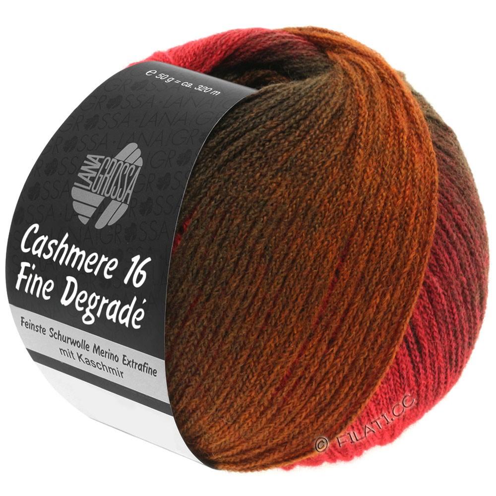 Lana Grossa CASHMERE 16 FINE Uni/Degradé | 105-тёмно-красный/светло-красный/коричневый шоколад