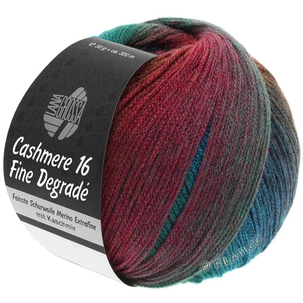 Lana Grossa CASHMERE 16 FINE Uni/Degradé | 106-синий бензин/бензин зеленый/коричневый, как шоколад/ягода/слива