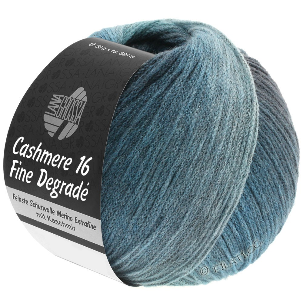 Lana Grossa CASHMERE 16 FINE Uni/Degradé | 111-петроль синий/синяя сталь/мята