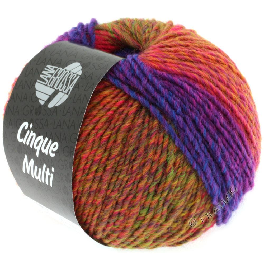 Lana Grossa CINQUE MULTI | 01-красная фиалка/синий/зелёный/оранжевый смешанный