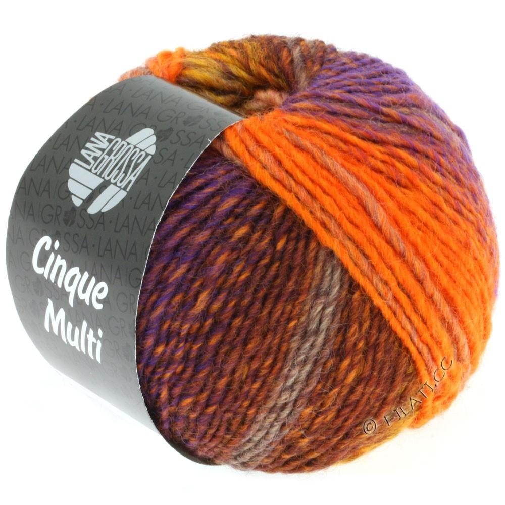 Lana Grossa CINQUE MULTI | 04-жёлтая кукуруза/коричневый/оранжевый/сирень/горчичный смешанный
