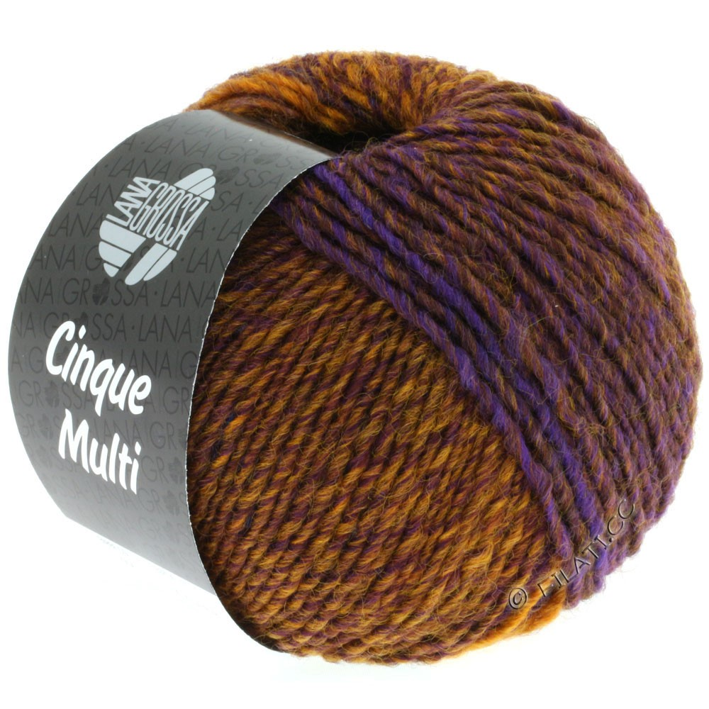 Lana Grossa CINQUE MULTI | 06-синий/коричневый/охра/тёмно-коричневый/пурпурный смешанный
